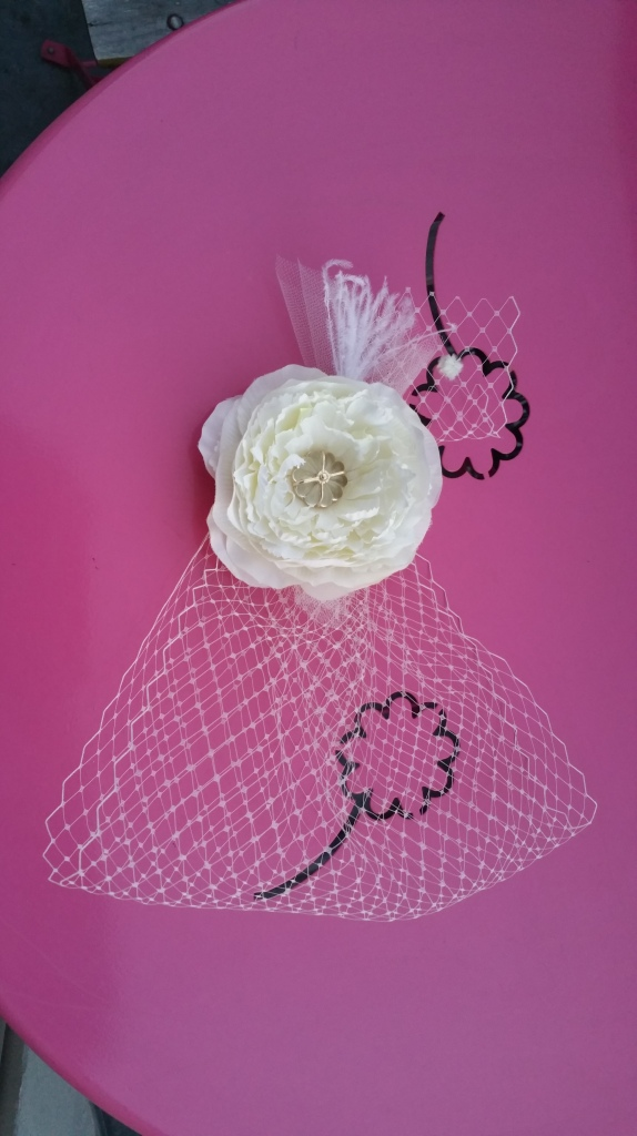 Fascinator and wedding veil homemade